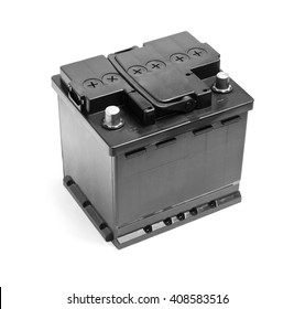 Black car battery isolated on a white background
