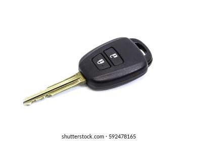 black car key on white background