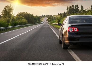 black car on asphalt road