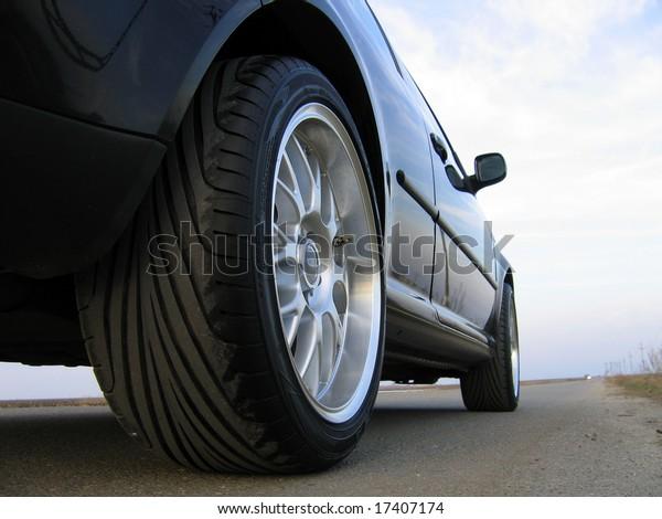 Black car on road