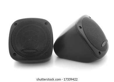 Black car speakers isolated on white