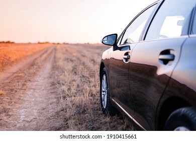 a black car stands in a field on a warm sunset evening in the middle of the road