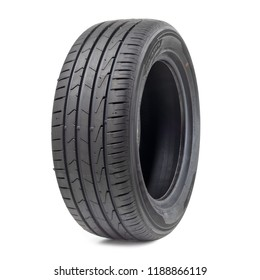 black car tyre isolated on a white background.