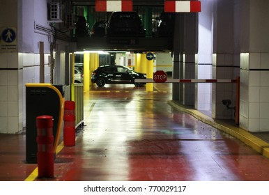 black car in the underground car parking