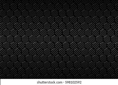 black carbon fiber hexagon pattern. background and texture. 3d illustration.
