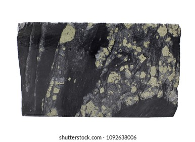Schwarze Kohlenstoffschiefer mit Pyrit- und Quarzmineralisierung einzeln auf weißem Hintergrund