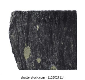 Black carbon shales with pyrite and quartz mineralization isolated on white background