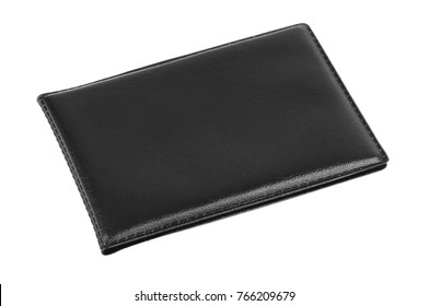 Black card wallet isolated on white background.