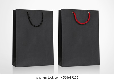 Black Cardboard Bag with handle rope, Isolated on white background