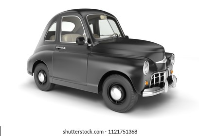 Black cartoon car isolated on white. 3D illustration