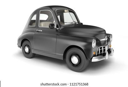 Black cartoon car isolated on white. 3D illustration