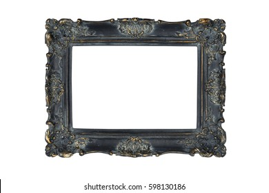 Black carved picture frame isolated over white with clipping path.