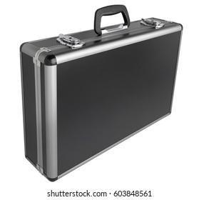 Black case with aluminum sides isolated on white background