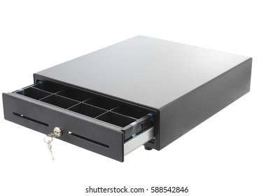 A black cashbox on white background