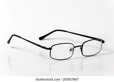 Black casual glasses isolated on white background
