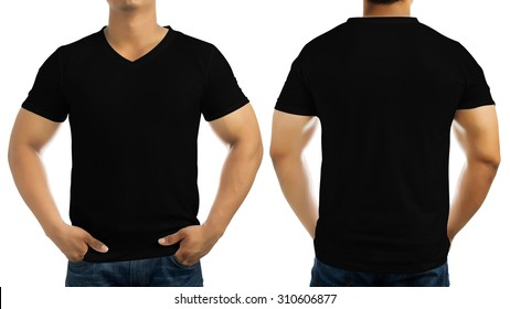 Black casual t-shirt on men's body isolated on white background, front and back.