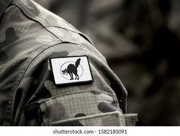 The black cat, also called the wild cat or sabot-cat sign on military uniform. Anarcho-syndicalism. Anarchist symbolism.