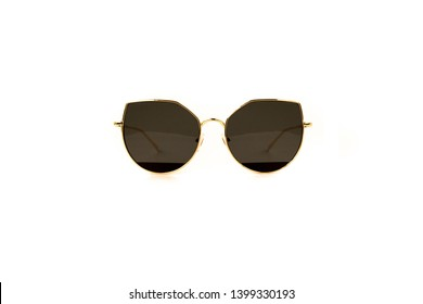 Black Cat Eye Sunglasses with Thin Frame, Front View