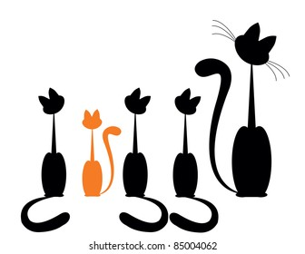 Black cat silhouette for your design and one red