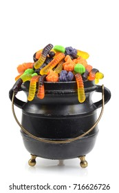 black cauldron of assorted halloween candy