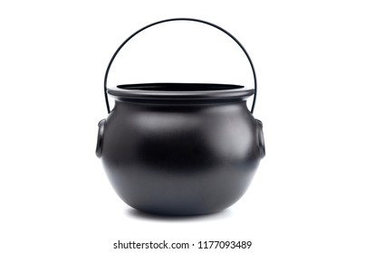 Black Cauldron For Witches on a White Background