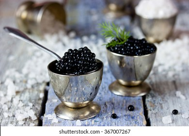 Black caviar, luxurious delicacy appetizer. Selective focus