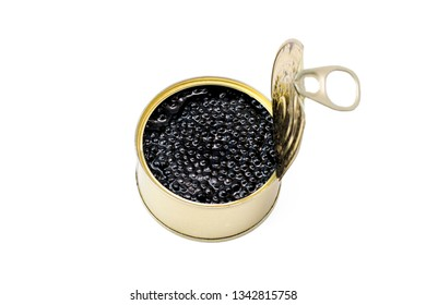 Black caviar of sturgeon in a jar on a white isolated background