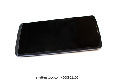 Black cell phone on a white background
