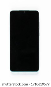 Black cell phone screen on white