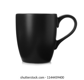 Black ceramic cup isolated on white