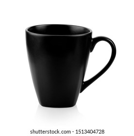 black ceramic cup isolated on white background