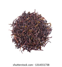 Black Ceylon tea with soursop, isolated on white background. Top view.