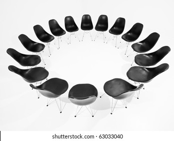 Black Chairs in a circle isolated on white background