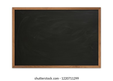 Black chalkboard with wooden frame on isolated white background composition