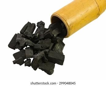 black charcoal in bamboo tube