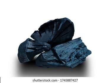 Black charcoal on white background ,with clipping path.