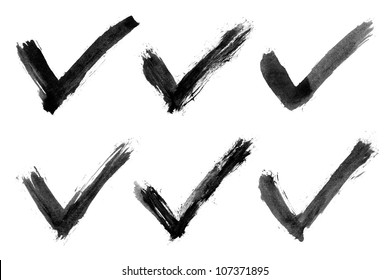 Black check mark. Watercolor isolated shape on white background. Abstract aquarelle textured in handmade technique.