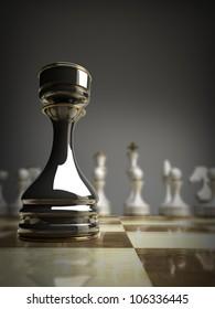 black chess castle background 3d illustration. high resolution