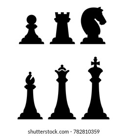 Black chess figures silhouettes isolated on white. chess figure illustration
