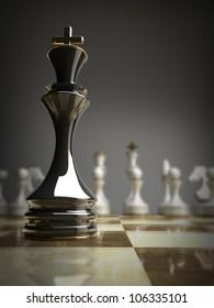 black chess king background 3d illustration. high resolution