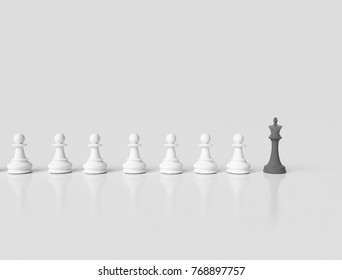 Black chess king leading white pawns business concept. 3d illustration