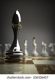 black chess officer background 3d illustration. high resolution