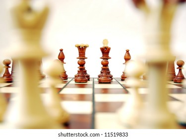 Black chess set, from perspective of white chess set