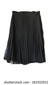 Black chiffon pleated skirt isolated over white