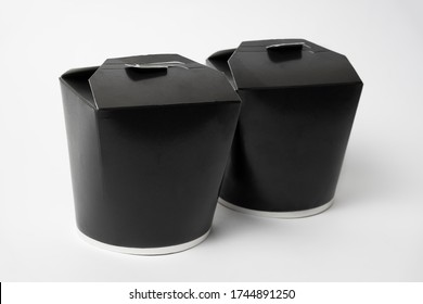 black chinese noodles boxes isolated on white