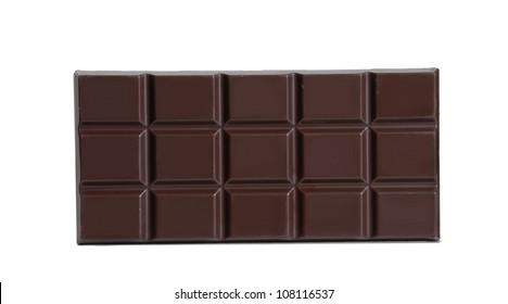 Black chocolate bar on white background.
