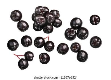 Black chokeberries (Aronia melanocarpa fruits), top view