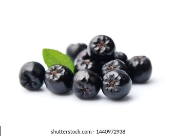 Black chokeberry isolated on white backgrounds. Black aronia berries.