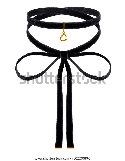 black choker with golden heart pendent on the white background