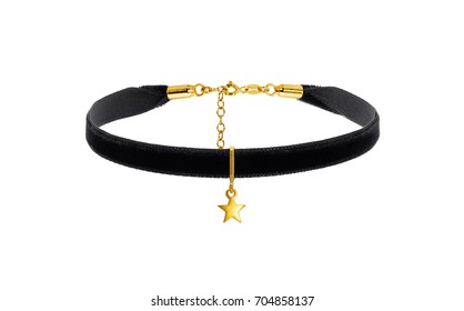 black choker with golden pendent on the white background